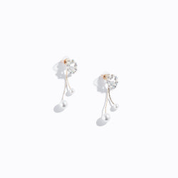 Floral Chrome Pearl Drop Earrings