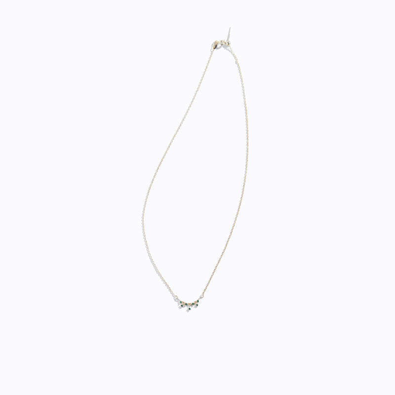 Gold-tone Bar & Clear CZ Necklace