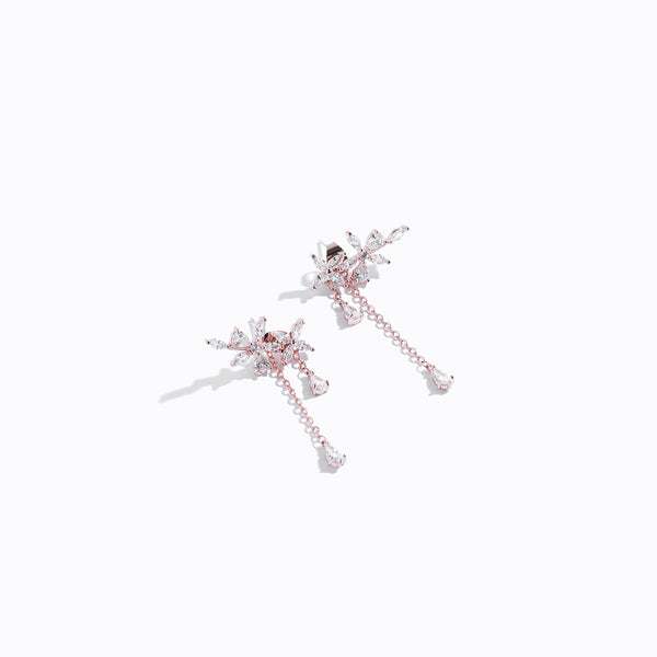 Clear CZ Floral Stud & Long Drop Earrings