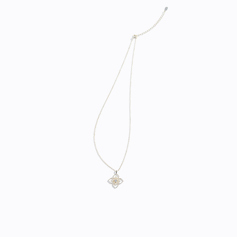 Gold-tone Heart & Clear CZ Necklace