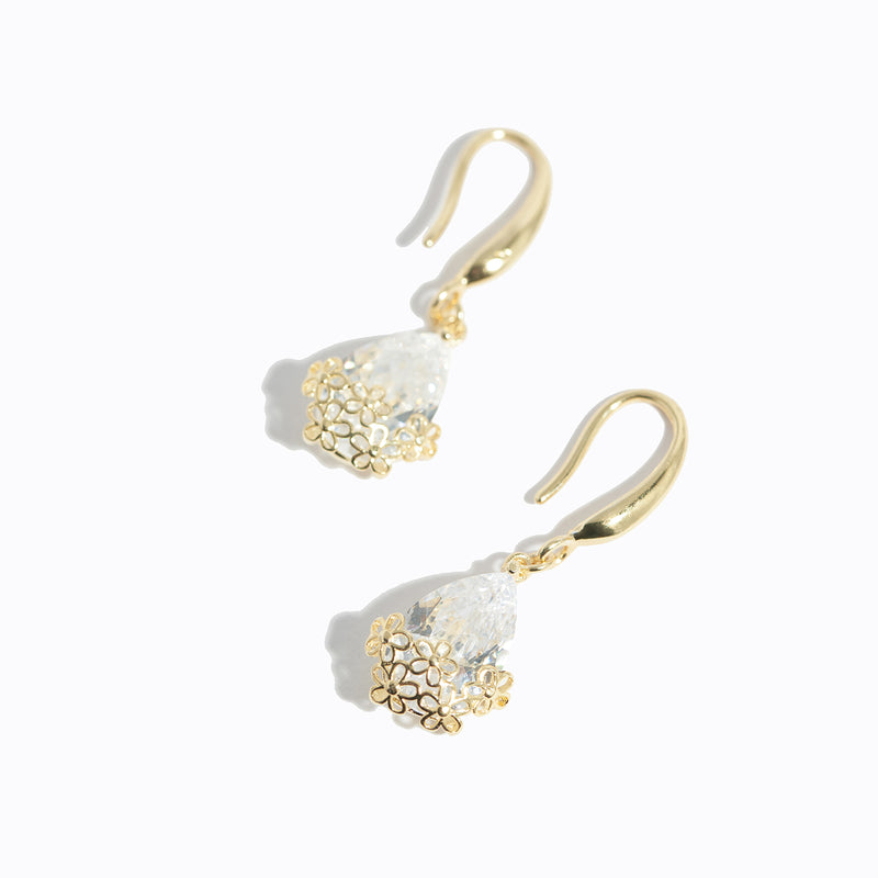 Water Drop Hollow Flower Earrings