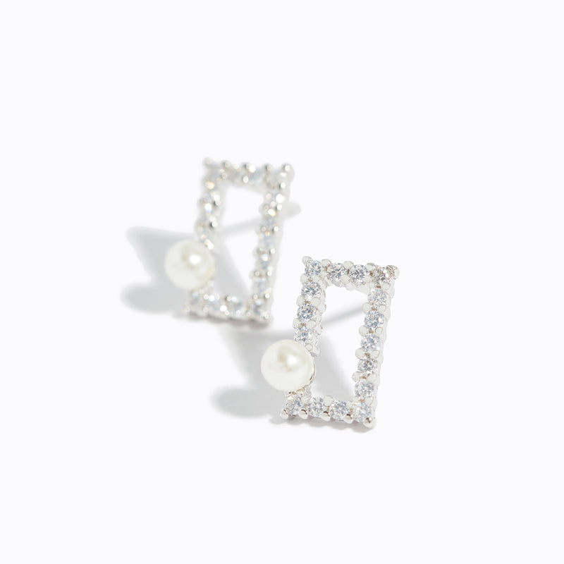 Clear CZ Rectangle & Pearl Stud Earrings