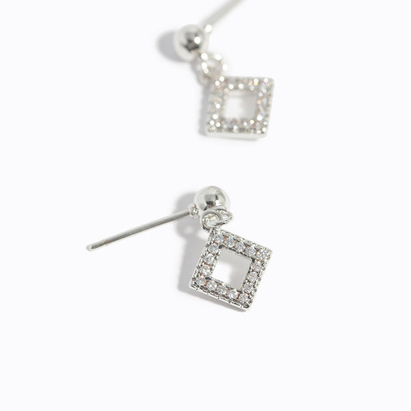 Clear CZ Square Drop Earrings
