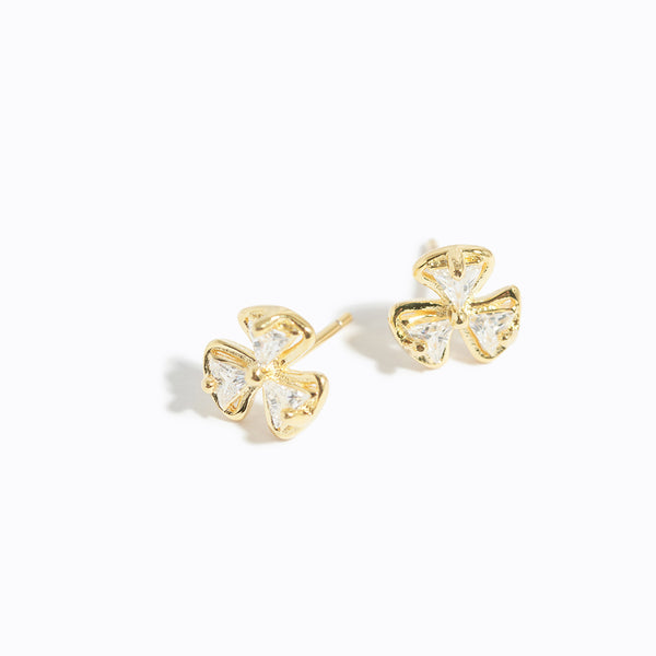 Clear CZ Clover Stud Earrings