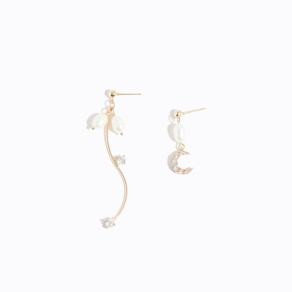 Clear CZ Moon & Pearl Asymmetry Earrings