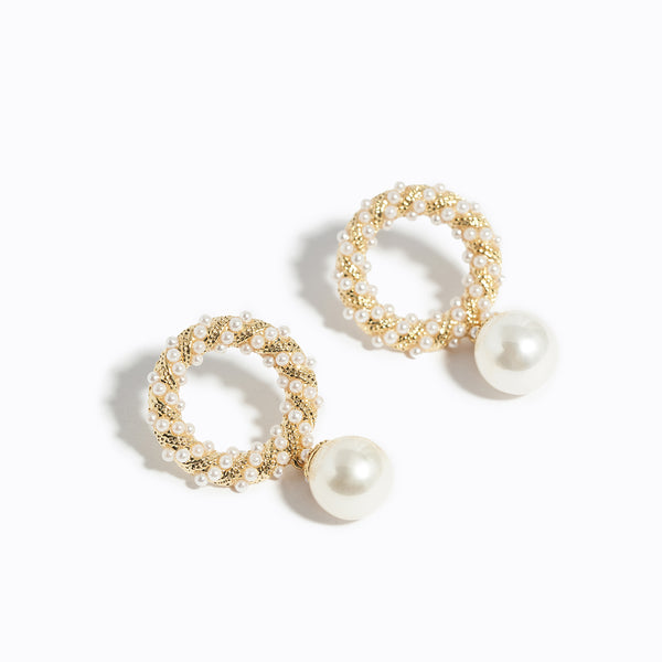 Gold-tone Chrome & Pearl Drop Earrings