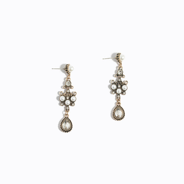 Retro Style Gem & Pearl Drop Earrings