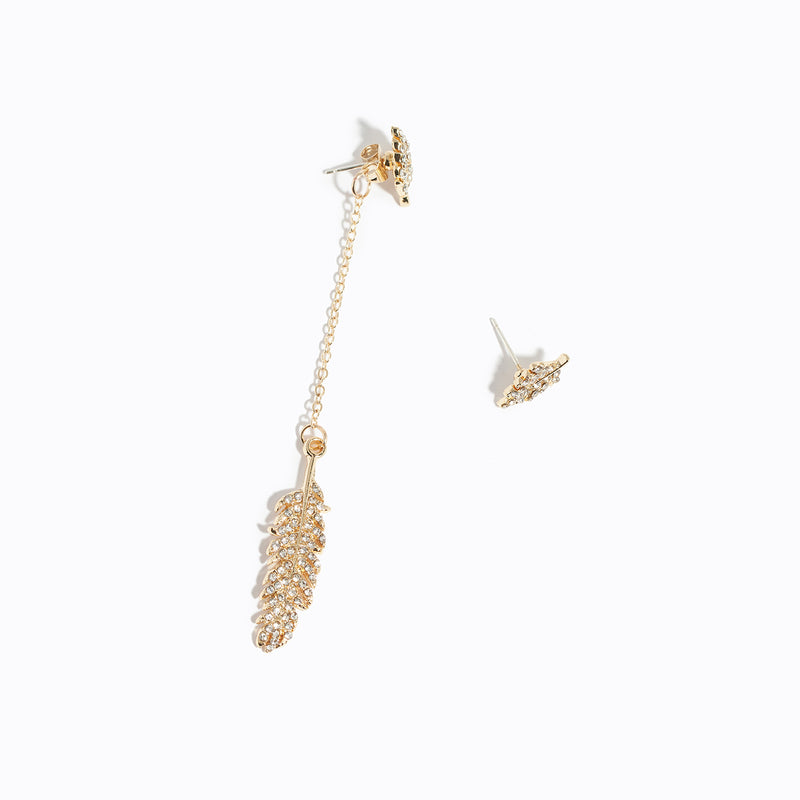 Feather Asymmetry Long Drop Earrings