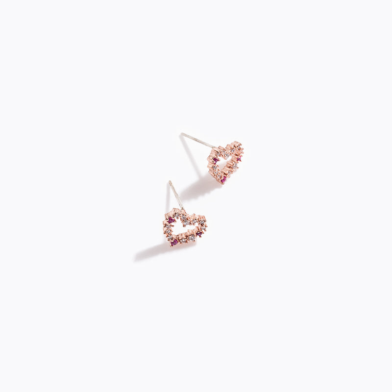 Pink & Clear CZ Heart Earrings