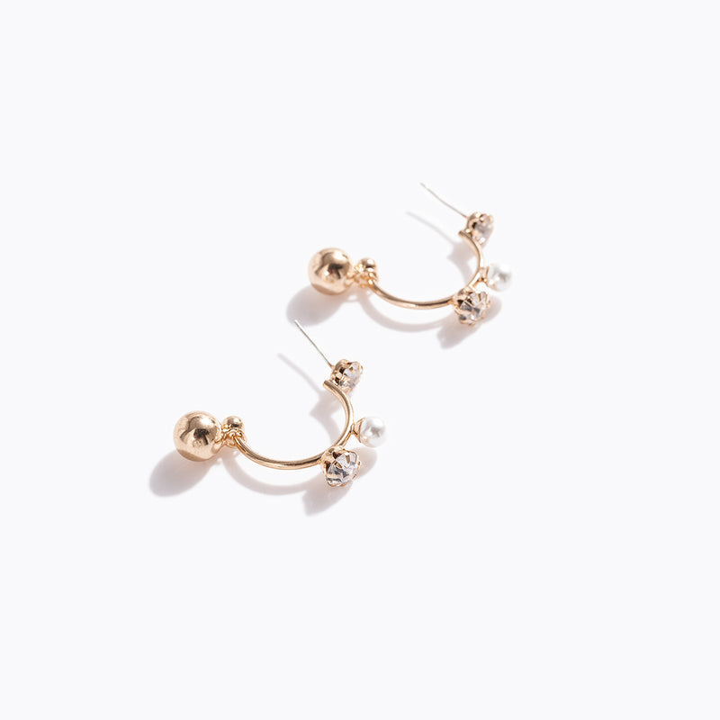 Gold-tone Pearl & CZ Hoop  Earrings