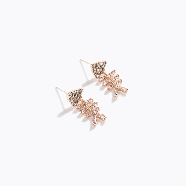 Clear CZ Fish Bone Earrings