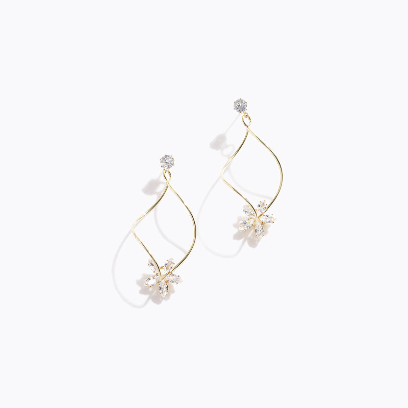 Clear CZ Flower Drop Twisted Earrings