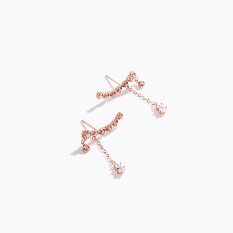Rose Gold Heart Bar & CZ Drop Earrings