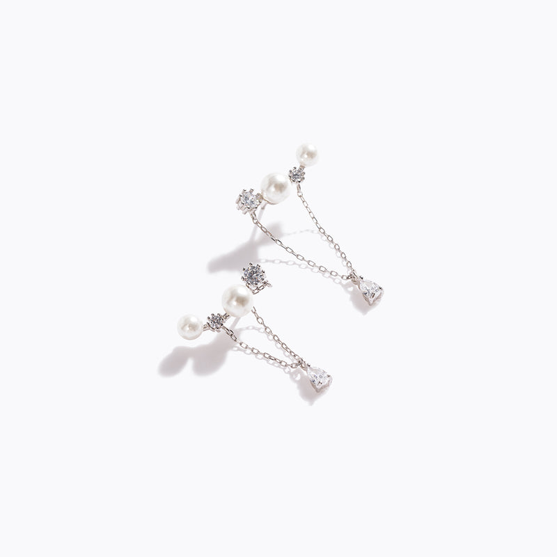 Clear CZ & Pearl Bar Chain Drop Earrings