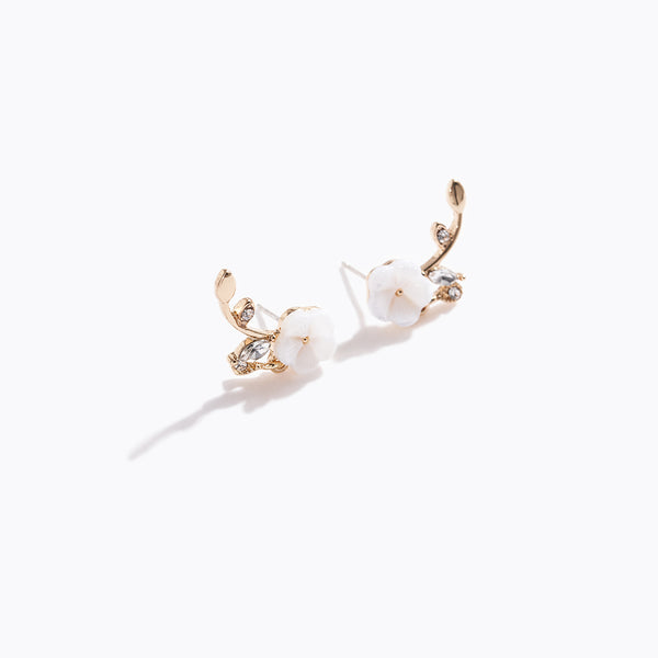 Clear CZ Leaf & Sakura Earrings