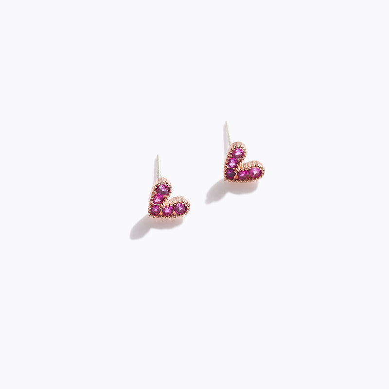 CZ Heart Stud Earrings