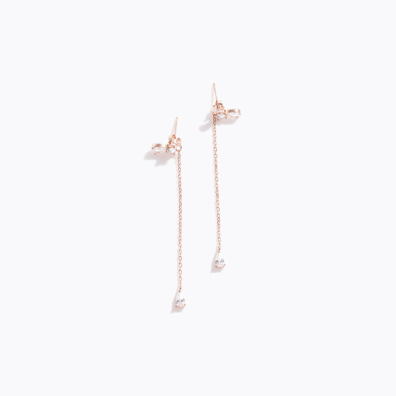 Clear CZ Stud & Long Drop Earrings