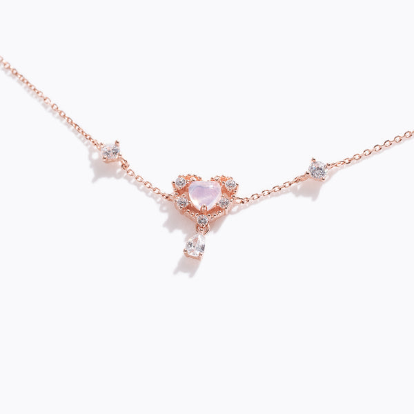 Pink Gem Heart & Clear CZ Drop Bracelet