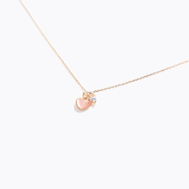 Pink Heart Opal & Clear CZ Necklace