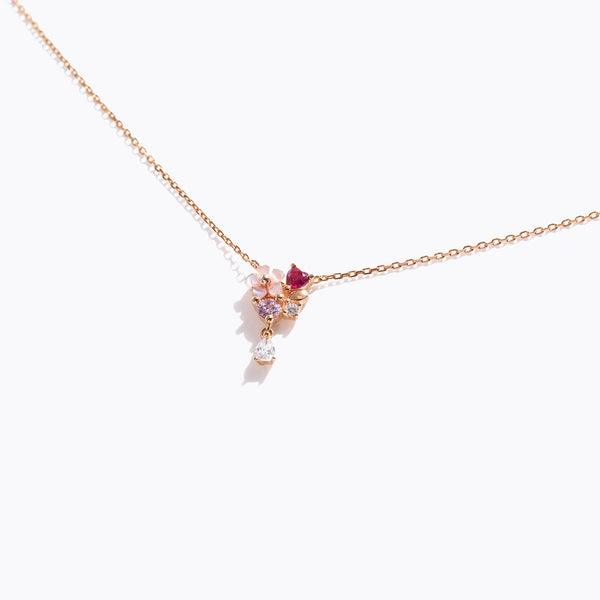 Color CZ & Flower Charm Necklace