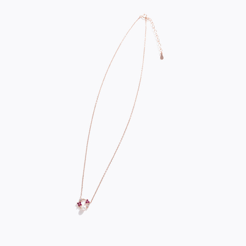 Pink Gem & Pearl Floral Chrome Necklace