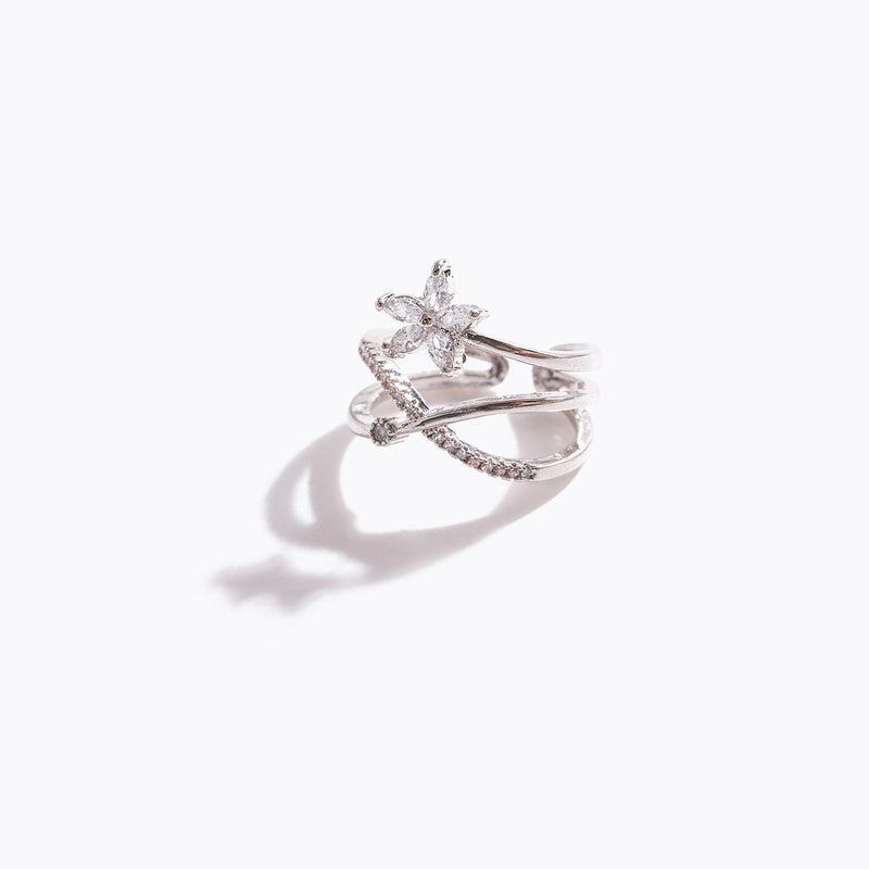 Clear CZ Cross & Flower Stud Ring