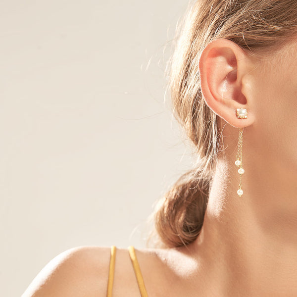 Gold-Tone Pearl Tassel Earrings
