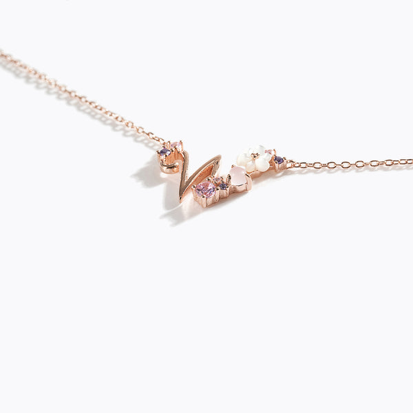 Clear CZ Floral Letter Necklace - W
