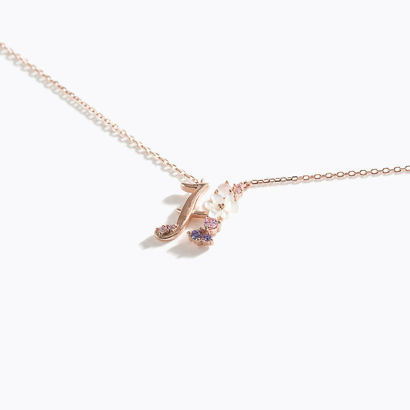 Clear CZ Floral Letter Necklace - H