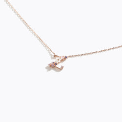 Clear CZ Floral Letter Necklace - Z