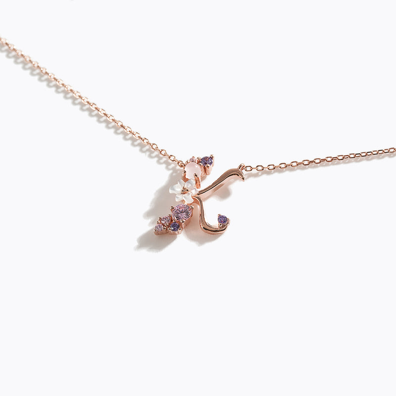 Clear CZ Floral Letter Necklace - K
