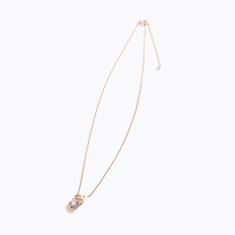 Clear CZ Floral Letter Necklace - J
