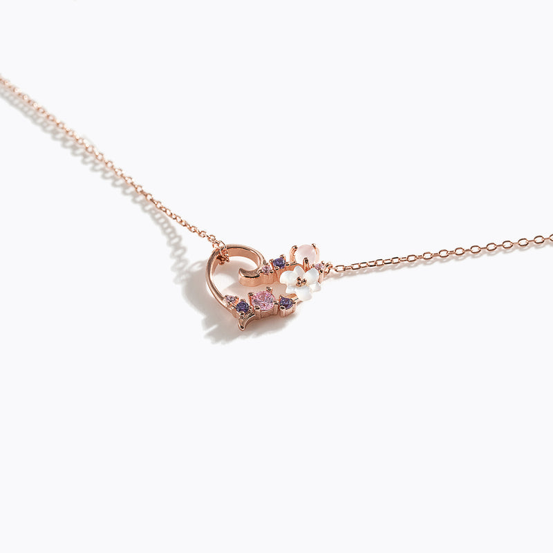 Clear CZ Floral Necklace - Heart