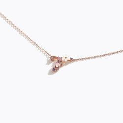 Clear CZ Floral Letter Necklace - T