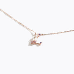 Clear CZ Floral Letter Necklace - L