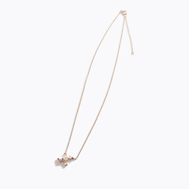 Clear CZ Floral Letter Necklace - X
