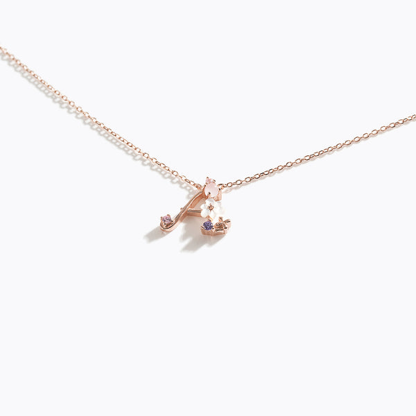 Clear CZ Floral Letter Necklace - A