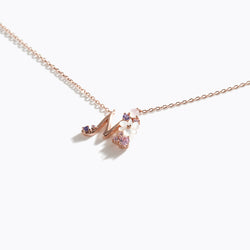 Clear CZ Floral Letter Necklace - M