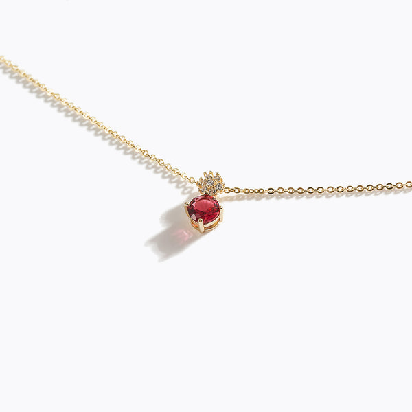 Red Gem & Clear CZ Charm Necklace