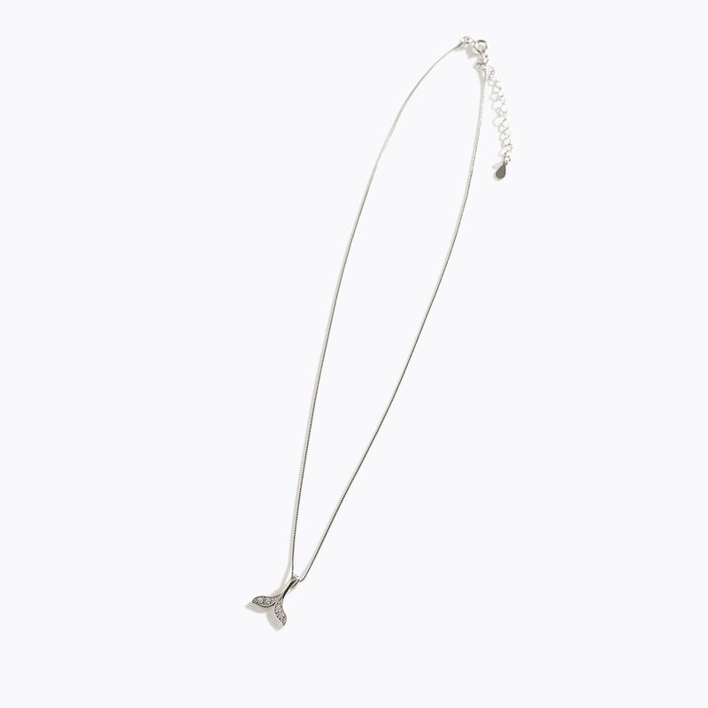 Clear CZ Tail Charm Necklace