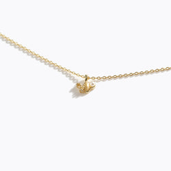 Gold-Tone Letter Charm Necklace - W