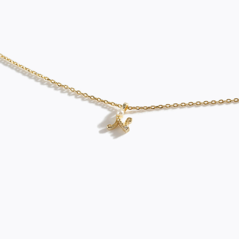 Gold-Tone Letter Charm Necklace - N