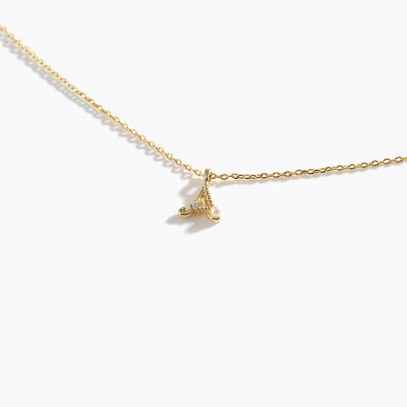 Gold-Tone Letter Charm Necklace - A