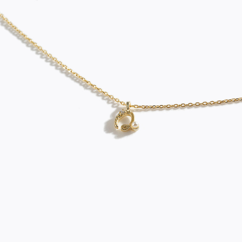 Gold-Tone Letter Charm Necklace - Q