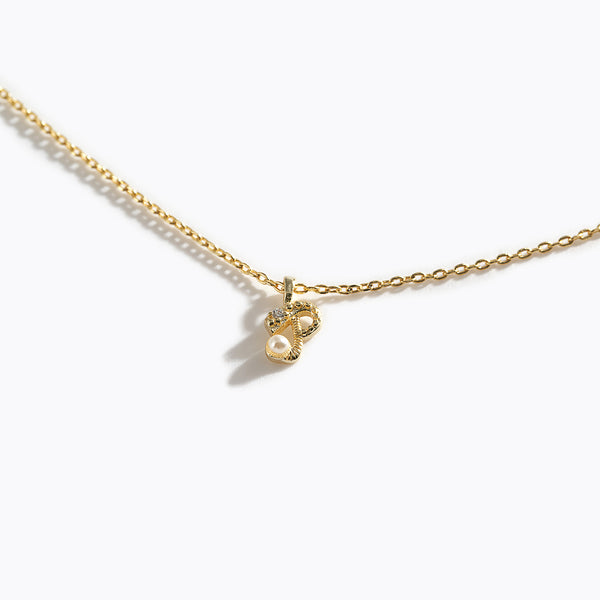 Gold-Tone Letter Charm Necklace - P