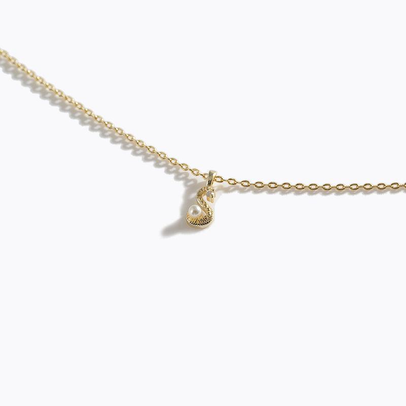 Gold-Tone Letter Charm Necklace - S