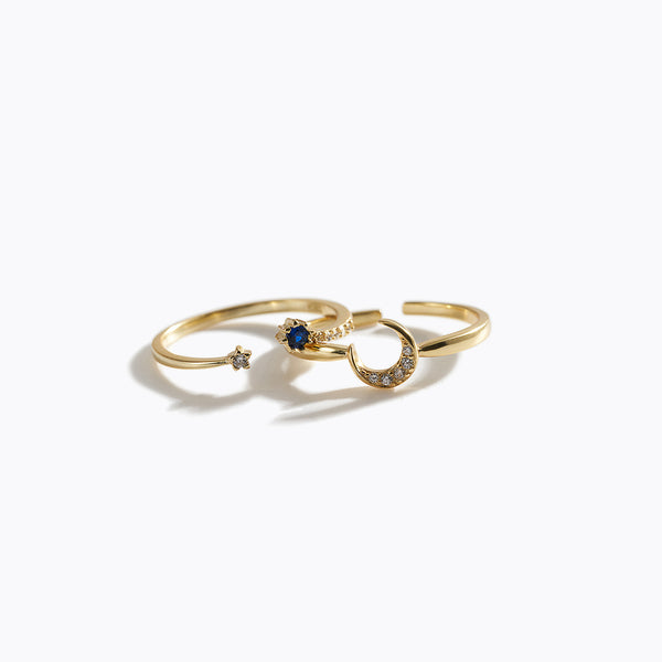 Gold-Tone Clear CZ & Moon Ring Set