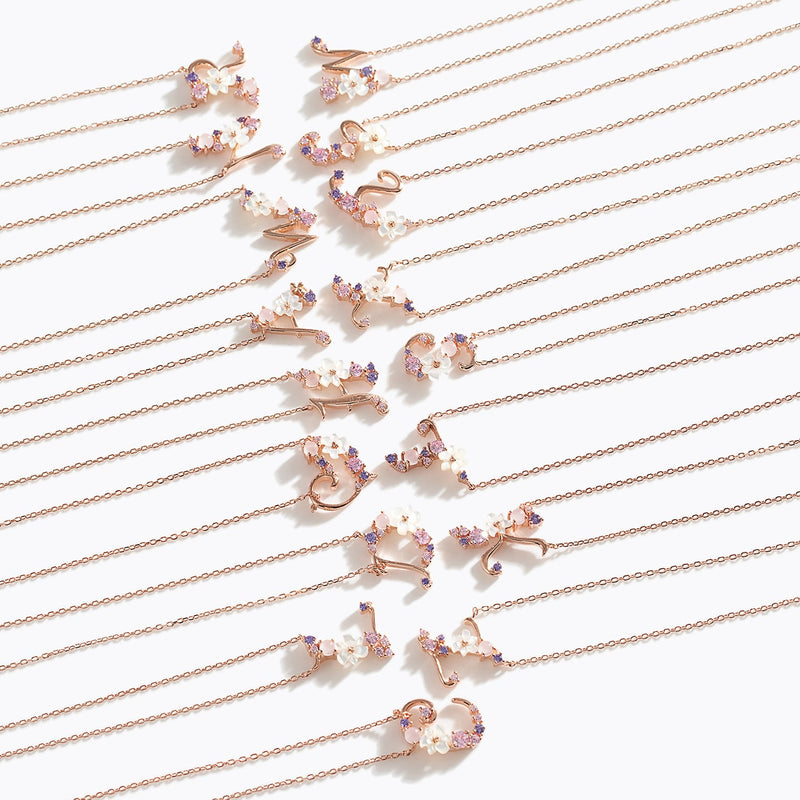 Clear CZ Floral Letter Necklace - C