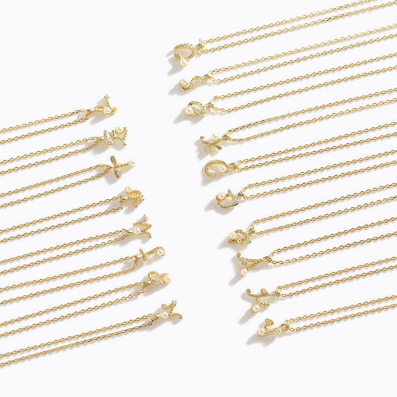 Gold-Tone Letter Charm Necklace - F