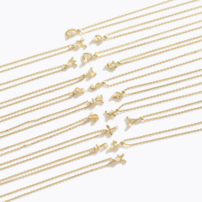 Gold-Tone Letter Charm Necklace - M